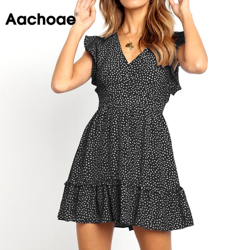 Aachoae Women Summer Dress 2020 Dot Print Boho Style Beach Dress Elegant A Line Sexy V Neck Ruffle Mini Dress Vestidos Mujer XXL