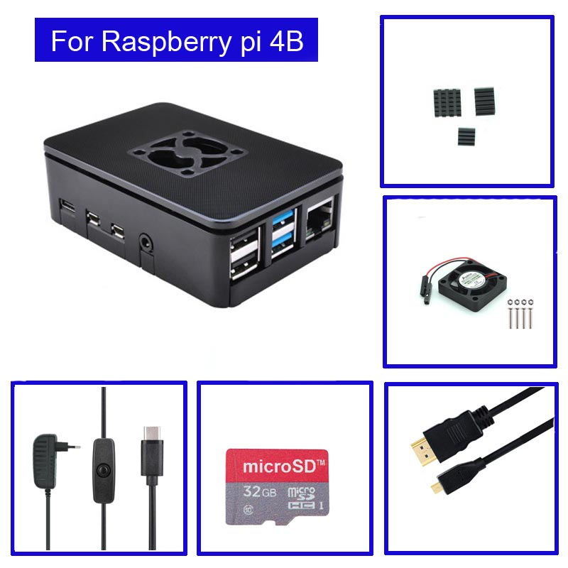 <font><b>Raspberry</b></font> <font><b>Pi</b></font> <font><b>4</b></font> <font><b>Model</b></font> <font><b>B</b></font> ABS Case with Fan + <font><b>Heatsink</b></font> +32GB SD Card+ 5V 3A power+HDMI for <font><b>Raspberry</b></font> <font><b>Pi</b></font> 4B image