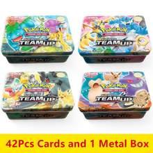 Anime 42 pçs/pçs/set cartões pokemon ferro metal caixa takara tomy brinquedos jogo de batalha snorlax gengar eevee desenhos animados crianças presentes de natal