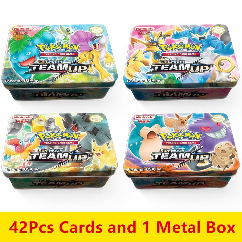 HOT 42pcs/set Cards Pokemon Iron Metal Box TAKARA TOMY Toys Battle Game Snorlax Gengar Eevee Cartoon Kids Christmas Gifts