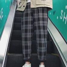 Plaid Pants Trousers Men Joggers Streetwear Hip-Hop Lappster-Youth Black Straight Korean