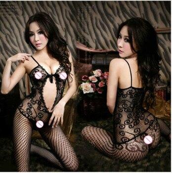 Sexy Lingerie Fishnet Lace Black Body stocking Sleepwear Women Crotchless Black Nightwear Solid