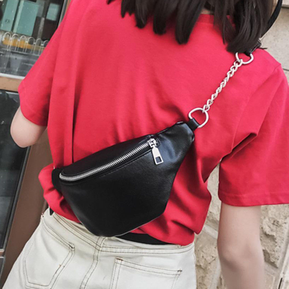 New Fashion Sequins Synthetic Leather Embellishment Women's Hip Waist Bum Bag