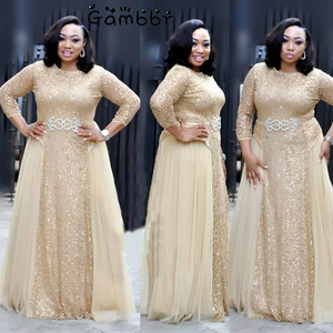 High Quality Elegant African Women Clothing Plus Size 3XL Evening Tunic Party Dress Formal Sequined Dress Long Vestido De Festa(China)