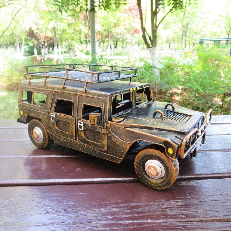 Grande Simulation pour Hummer voiture militaire modèle métal guerre Chariot artisanat décoration de la maison chaude Auto roues jouet voiture 35.5x20x16cm