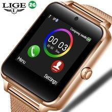 패션 스마트 워치 금속 디지털 시계와 Sim 카드 슬롯 푸시 메시지 블루투스 연결 안드로이드 IOS 전화 Smartwatch