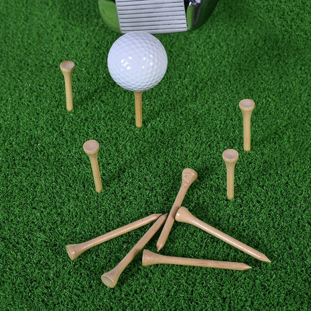 100 adet Golf Tees bambu 83mm 70mm kırılmaz Tee Golf eğitim salıncak uygulama aksesuarları daha az sürtünme güçlü 4 boyut toplu