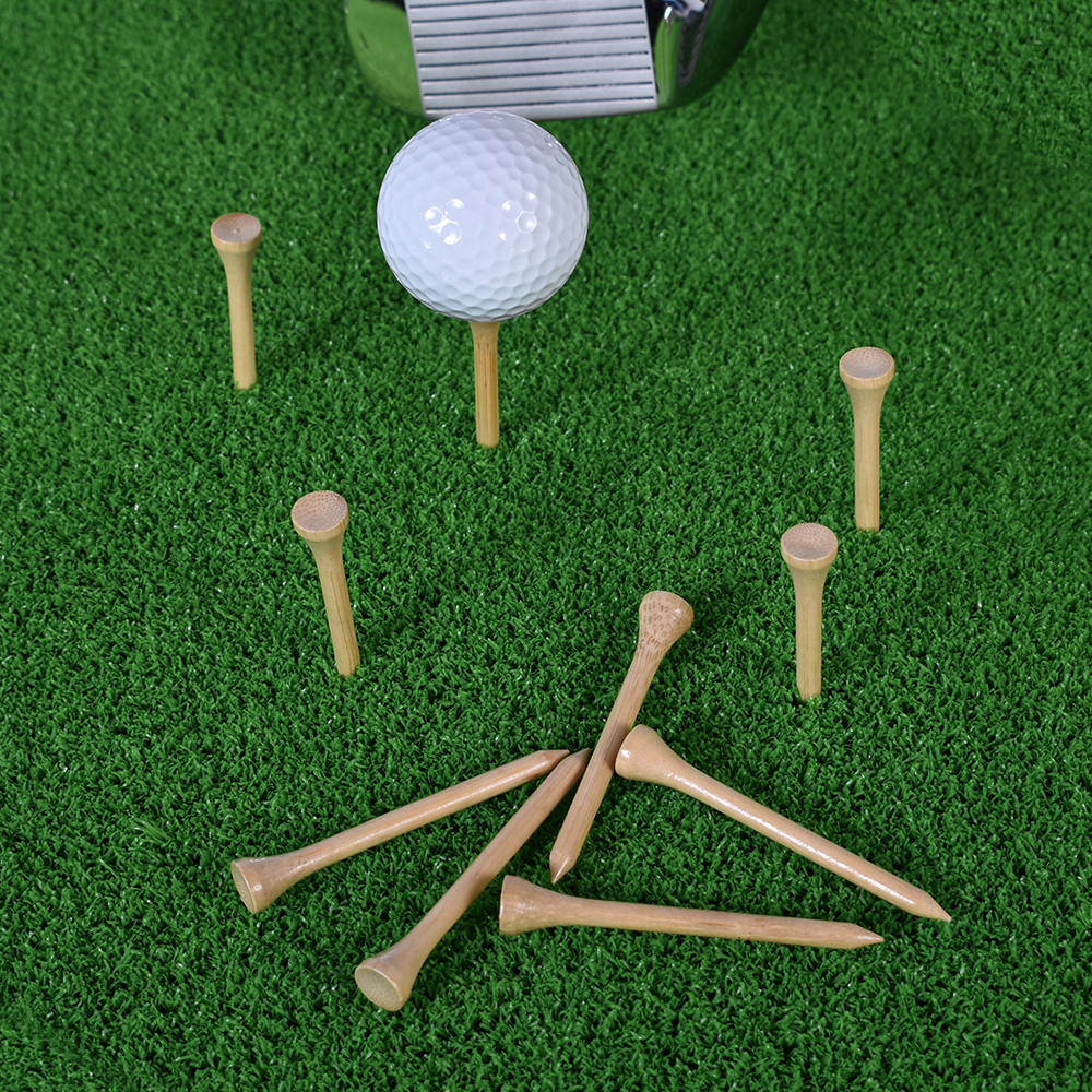 100Pcs Golf Tees Bamboo 83mm 70mm Unbreakable Tee Golf Training Swing Practice Accessories Less Friction Stronger 4 Size Bulk