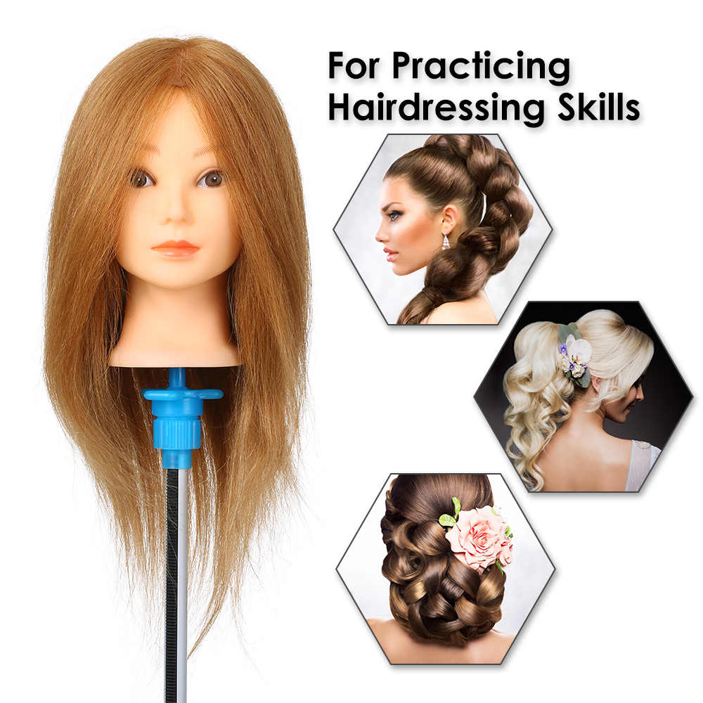 100% Human Hair Training Practice Head Real Hair Mannequin Head Practice Dummy Head Cosmetology Training Manikin Head Salon Tool