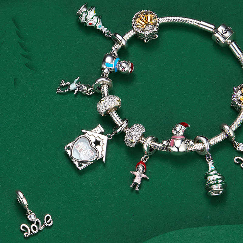 bamoer Christmas Collection 925 Stelring Silver Charm fit Bracelet DIY Bijoux Women Fine  Jewelry Making Festival Gifts