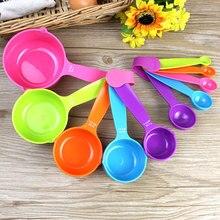 5 шт./компл. цветные чашки столовые ложки мерный стаканчик Практичный комплект кофейных ложек прочные ложки для выпечки пластиковые