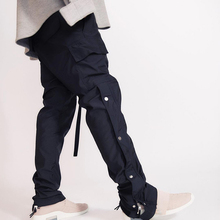 Black Cargo Pants Men's Urban Hip Hop Streetwear Long Straps Joggers Buttons Split Velcro Sweat Pants European American