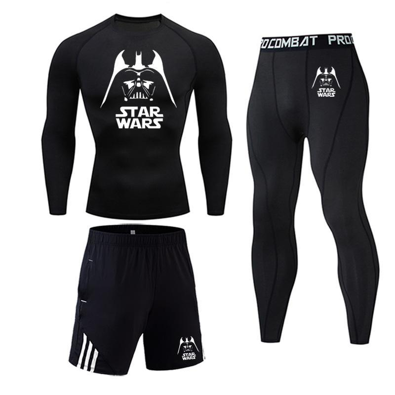 Winter Thermal Underwear Set Star Wars Sportswear Suits Tight Gym Fitness Training And Pants Male Jogging Compression Set