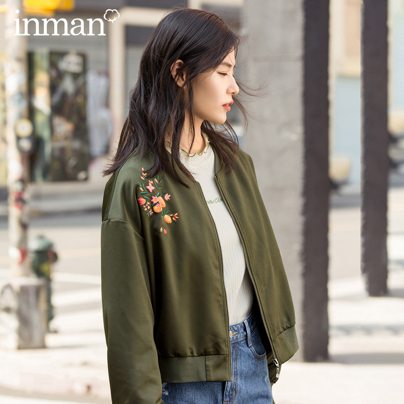 INMAN Winter Fashion Baseball Collar Print Dropped Shoulder Sleeve Zipper Surcoat