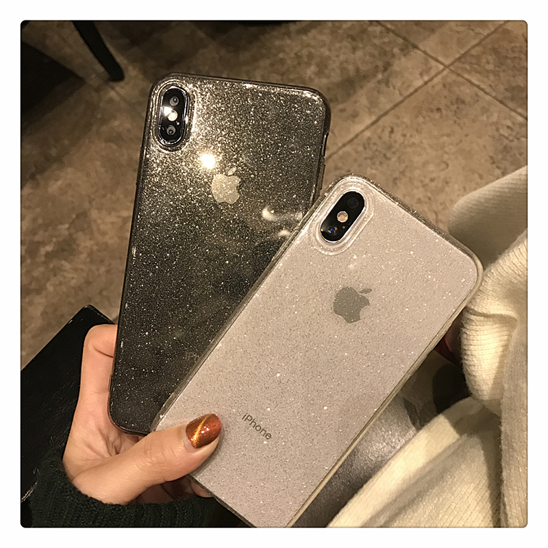 H81e633c4711845e2a2388537f24efa03E - Shining Glitter Powder Black Phone Case For iPhone 11 Pro XR XS Max 8 7 Plus 6S Transparent Soft TPU Shockproof Bling Back Cover