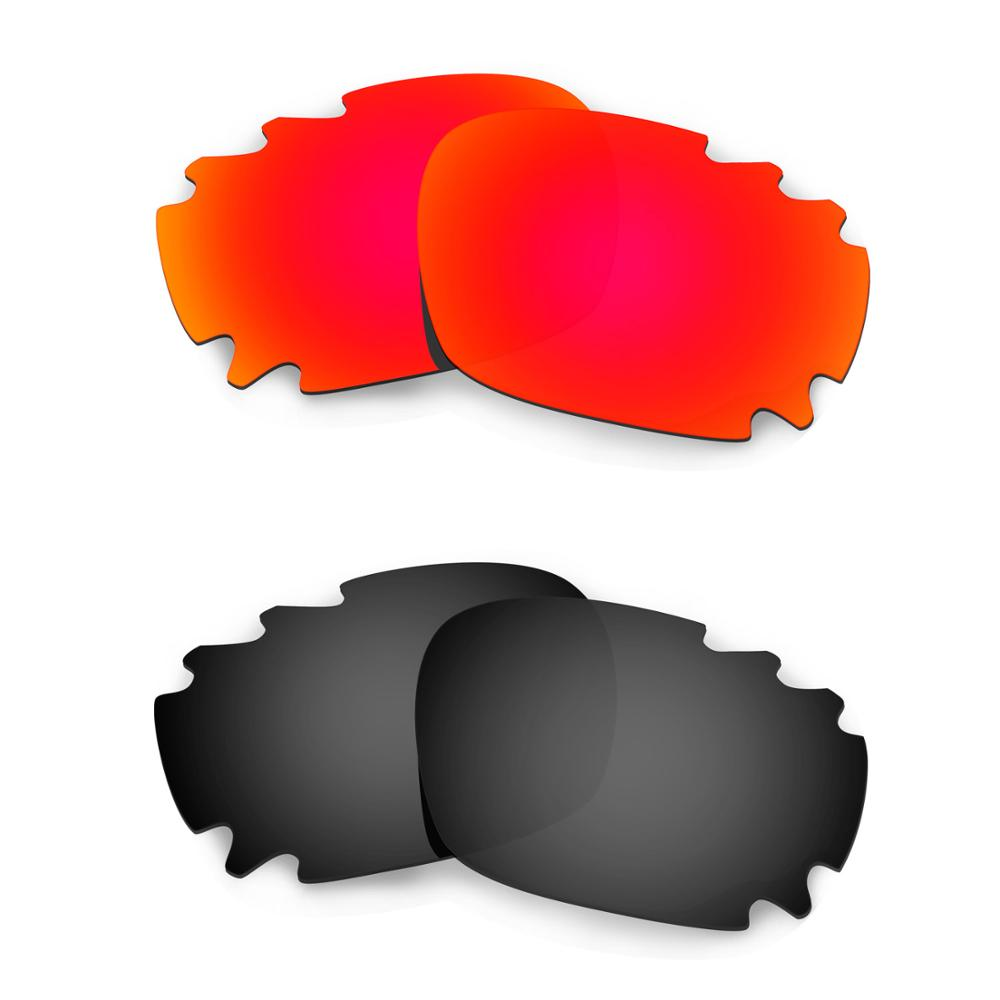 HKUCO For Jawbone Asian Fit Vented Sunglasses Replacement Polarized Lenses 2 Pairs - Red & Black