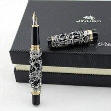 Luxe Gift Pen Jinhao Grijs en Rood 3D Draak en Phoenix Vulpen 0.5mm Metalen Inkt Pennen Kantoorbenodigdheden gratis Verzending