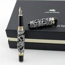 Luxo presente caneta jinhao cinza e vermelho 3d dragão e phoenix caneta fonte 0.5mm metal tinta canetas material de escritório frete grátis