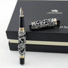 Luxury Gift Pen Jinhao Grey and Red 3D Dragon and Phoenix Fountain Pen 0.5mm Metal Ink Pens Office Supplies Free Shipping