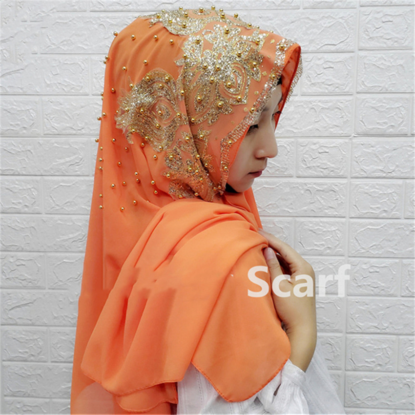Hijab Scarf Abaya Muslim Dress Women  Silk Hijab  Elegant Scarves Solid Color With Beading Flower Prayer Party Islamic Clothing