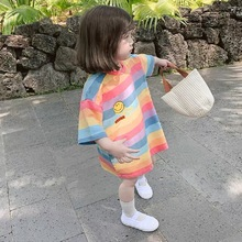 цена на Summer short-sleeved girls clothes loose round neck T-shirt rainbow striped top girls long casual fashion 3 to 8 years old
