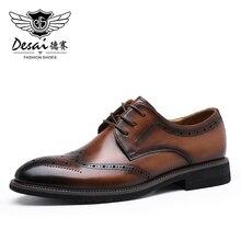 Desai Men Shoes Genuine Leather Shoes Men Brogue Design Hand Add Color Soft Outsole Brand Male Adult Fashion Dress Formal