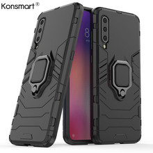 New Shockproof Armor Case For Xiaomi Mi A3 Stand Car Ring Phone Cover for xiaomi lite TPU+PC KONSMART