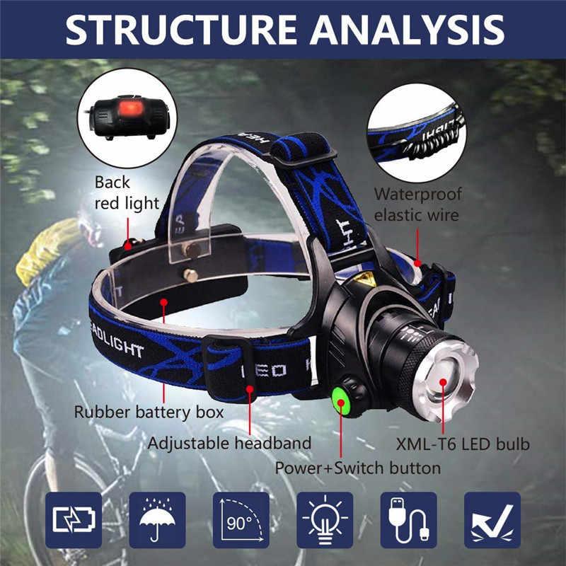LED kafa meşaleler T6/L2 far 7000LM yakınlaştırılabilen 3 modları USB şarj edilebilir kafa lambası su geçirmez 18650 pil kamp için