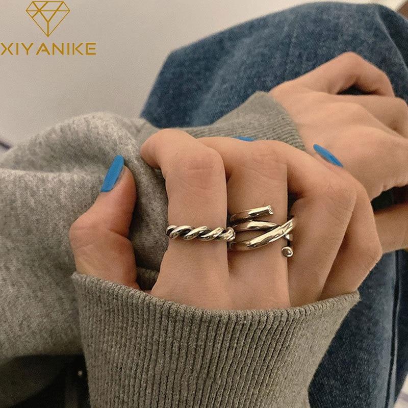 XIYANIKE – bague en argent Sterling 925 pour femme, anneau torsadé multicouche, ligne croisée, Simple, à la mode