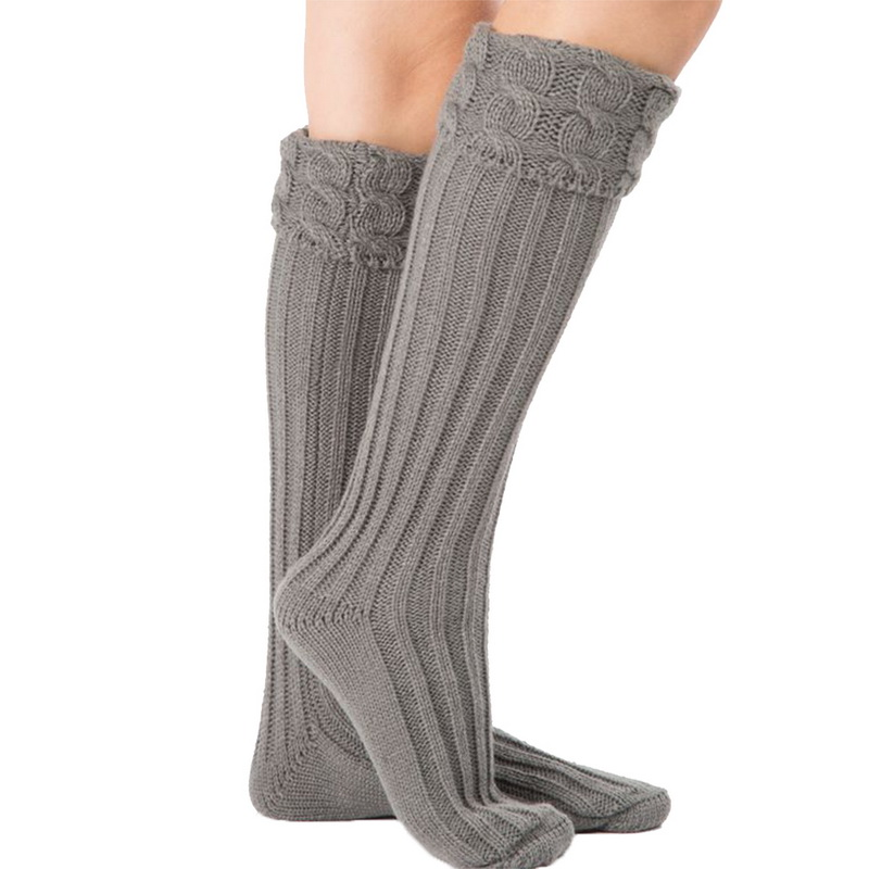 1 Pair Women Girl High Socks Spring Autumn Winter Warm Knit Soft Thigh High Long Socks Solid Color Loose Stockings Leg Warmers