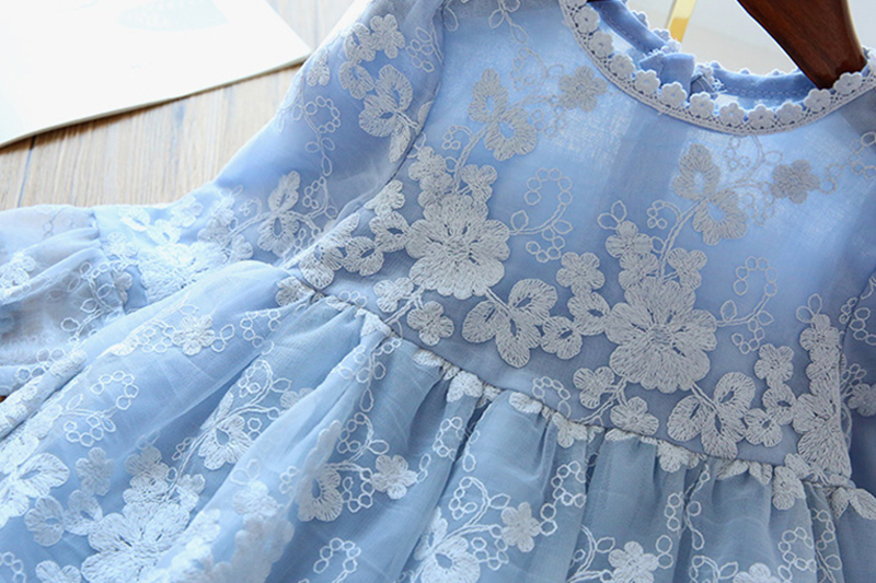 Winter Autumn Girl Lace Embroidery Long Sleeve Dress Children Wedding Birthday Party Vestidos Kids Holiday Casual Wear Clothing 3