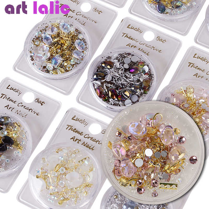1 Box Mixed 3D Rhinestones Nail Art Decorations Crystal Gems Sieraden Gold Ab Shiny Stones Charm Glas Manicure Accessoires