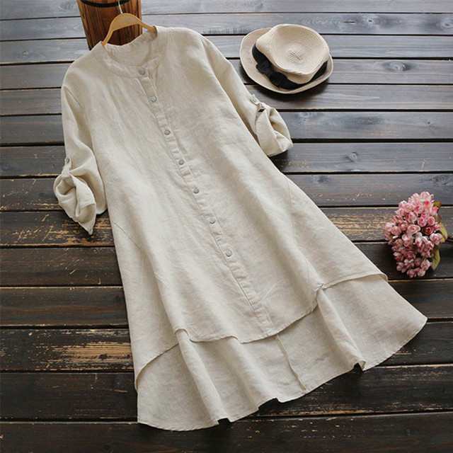 #H40 Casual Loose Cotton And Linen Blouse Women Soild Button Long Sleeve Long Shirt Womens Tops And Blouses Blusa Feminina 1
