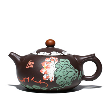 Color handpainted lotus yixing teapot purple sand zisha kettle creative drinkware