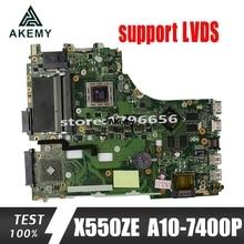 Akemy X550ZE Per For Asus VM590Z X550ZE X550ZA scheda madre del computer portatile X550/X750 A10-7400P LVDS lavoro di Test al 100%