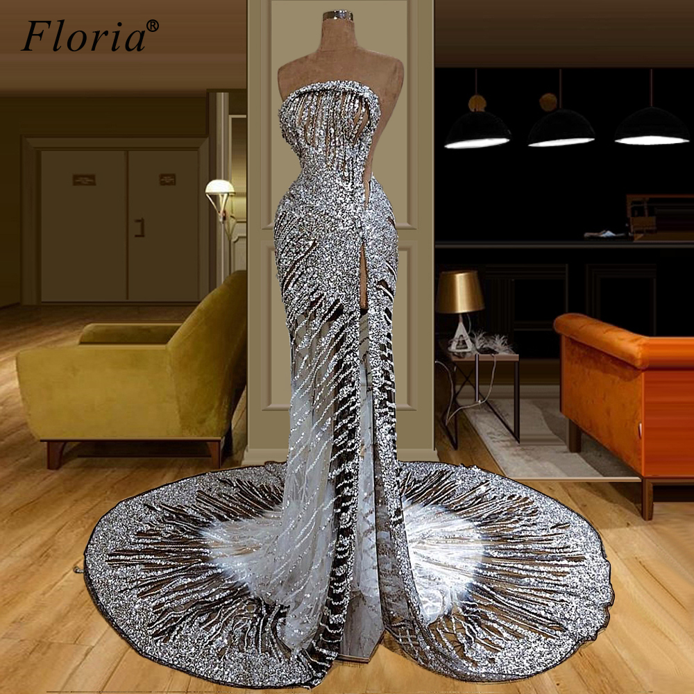 Dubai Silver Glitter Prom Dresses 2020 Mermaid Sexy Long Cocktail Party Dress Turkish Abendkleider Women Evening Gowns Vestidos