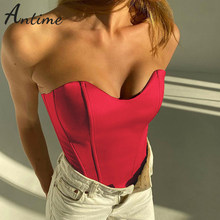 Antime Strapless Stain Corset Crop Top Party Club 2021 Summer Y2K Women Black Sexy Skinny Off Shoulder Sleeveless Tube Tank Tops