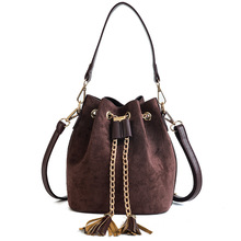 Fashion Hong Kong style frosted small bag ladies spring and summer new trend handbag shoulder messenger bag tassel bucket bag spring and summer 2020 new fashion women s portable bucket bag fashion women s bag trend women s one shoulder messenger bag