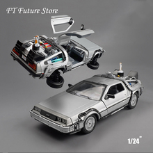 New Cool Car Model Toys 1/24 Scale Diecast Welly Back To The Future Part 1 2 3 Time Machine DeLorean DMC-12  Model for Kid Gift цена