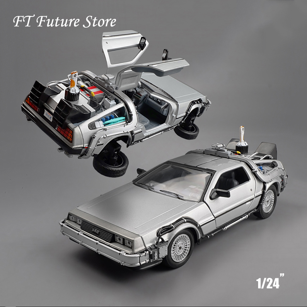 New Cool Car Model Toys 1/24 Scale <font><b>Diecast</b></font> Welly Back To The Future Part 1 2 3 Time Machine DeLorean DMC-12 Model for Kid Gift image