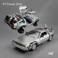 New Cool Car Model Toys 1/24 Scale Diecast Welly Back To The Future Part 1 2 3 Time Machine DeLorean DMC 12 Model for Kid Gift