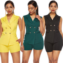 SZMALL Newest 2020 Autumn Women Casual Sleeveless Button Slim V Neck Blazers Shorts 2PCS Summer Office Clothes Set For Female