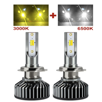 Muxall H1 H11 H8 H9 H7 LED Headlight Bulbs H7 LED Canbus HB3 HB4 LED Lights for Car 12V 24V 3000K+6500K Dual Color Fog Lamps image