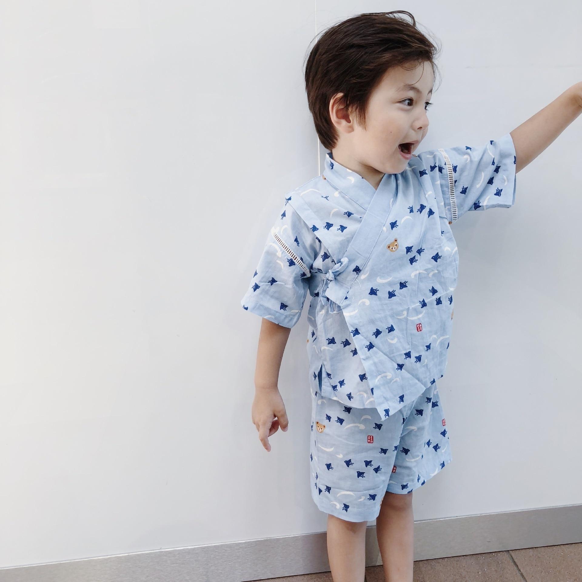 INS Japanese-style Home Wear Kimono Gauze Bathrobe Jinhei Children BOY'S Summer Thin Section Pajamas Family Of Three
