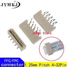 10PCS 1.25mm FPC/FFC Connector LCD Flexible Flat Cable Socket Double Row 4 5 6 7 8 9 10 11 12 14 16 18 20 22 24 26 28 30 32 Pin