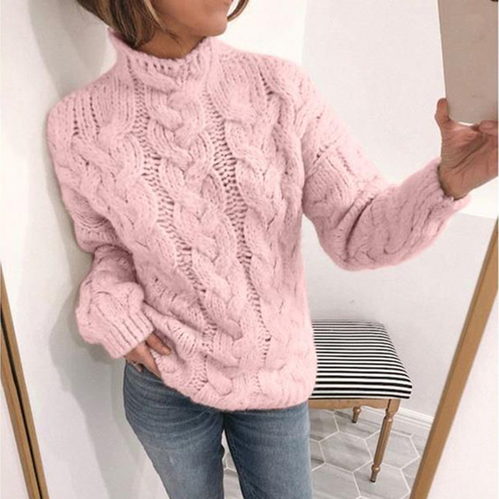 Twisted Sweater Women Turtleneck Pullover Knitted Tops Ladies Winter Thick Warm High Collar Sweater Female Slim Solid Sueter D40