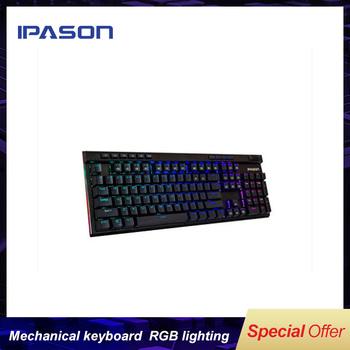 IPASON mechanical keyboard A7 green axis esports game keyboard 104 key  PUBG weapon APEX hero Full-key no-rush/ RGB  lighting