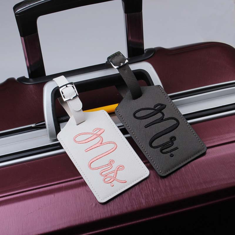 New Fashion Mr&Mrs Suitcase Embroidery Luggage Tags Bag Pendant Travel Accessories Name ID Address Wedding VIP Invitation Label