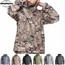 Camouflage Tactical Jacket Military Army Coat Men Soft Shell Waterproof Windproof Hooded Jacket Combat Fleece Camo Jacket men s tactical army outdoor coat waterproof soft shell combat jacket hunting jacket