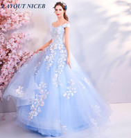 Beautiful Blue Evening Dress Off the Shoulder robe de soiree Lace Appliques Beads Tulle Puffy Prom Dress Formal Dress abendkleid
